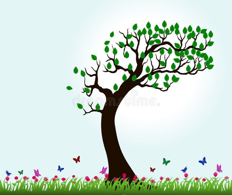 Σκιαγραφίες των δέντρων και των πεταλούδων που πετούν στον κήπο λουλουδιών διανυσματική απεικόνιση
