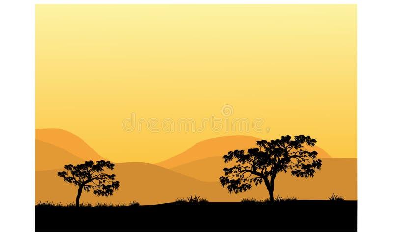 Σκιαγραφίες των δέντρων το μεσημέρι απεικόνιση αποθεμάτων
