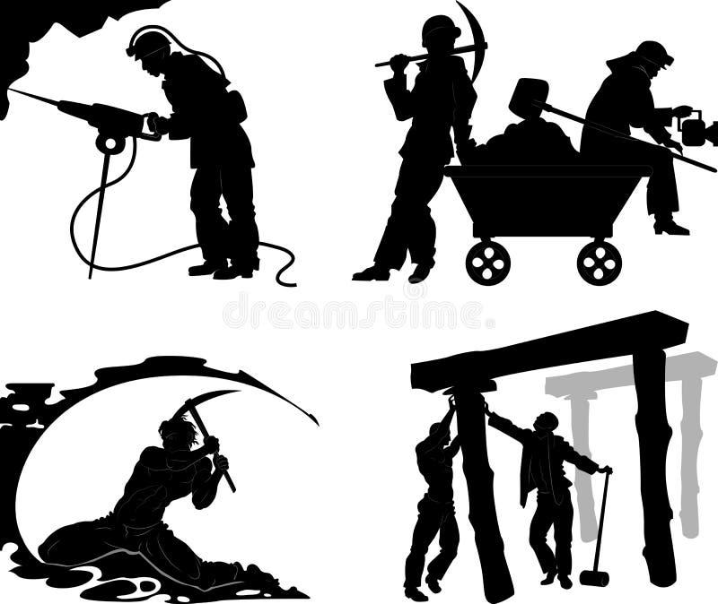 Σκιαγραφίες των ανθρακωρύχων διανυσματική απεικόνιση