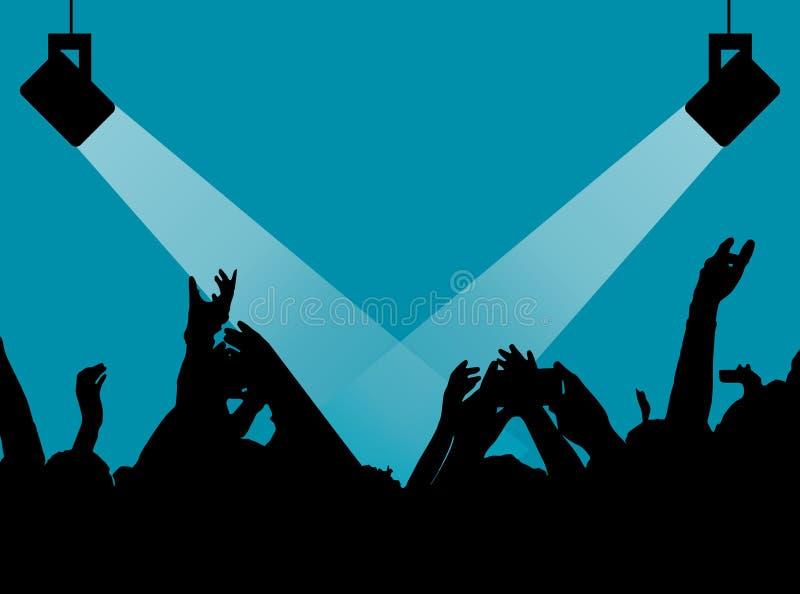 Σκιαγραφίες των ανθρώπων σε έναν φωτεινό στη λαϊκή συναυλία βράχου μπροστά από τη σκηνή Χέρια με τα κέρατα χειρονομίας Αυτός λικν διανυσματική απεικόνιση