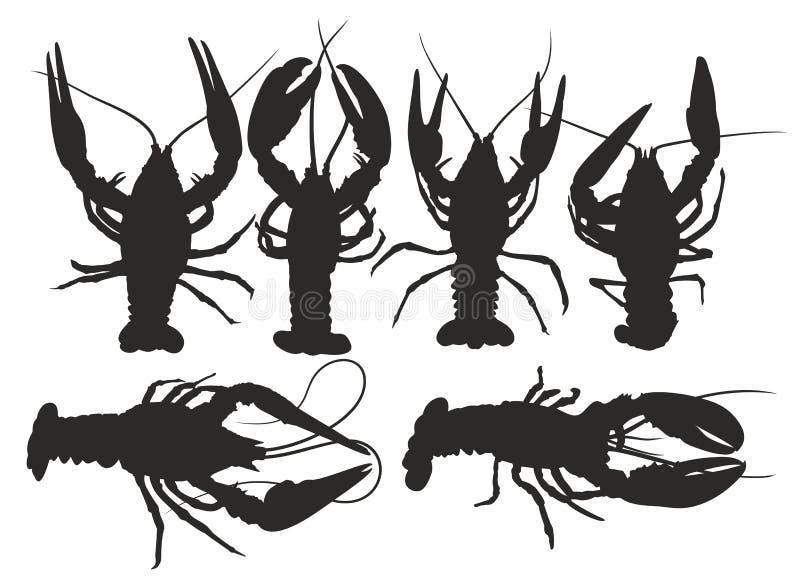 Σκιαγραφίες των αστακών απεικόνιση αποθεμάτων