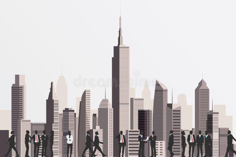 Σκιαγραφίες των επιχειρηματιών με τον ουρανοξύστη που στηρίζεται στο backd απεικόνιση αποθεμάτων