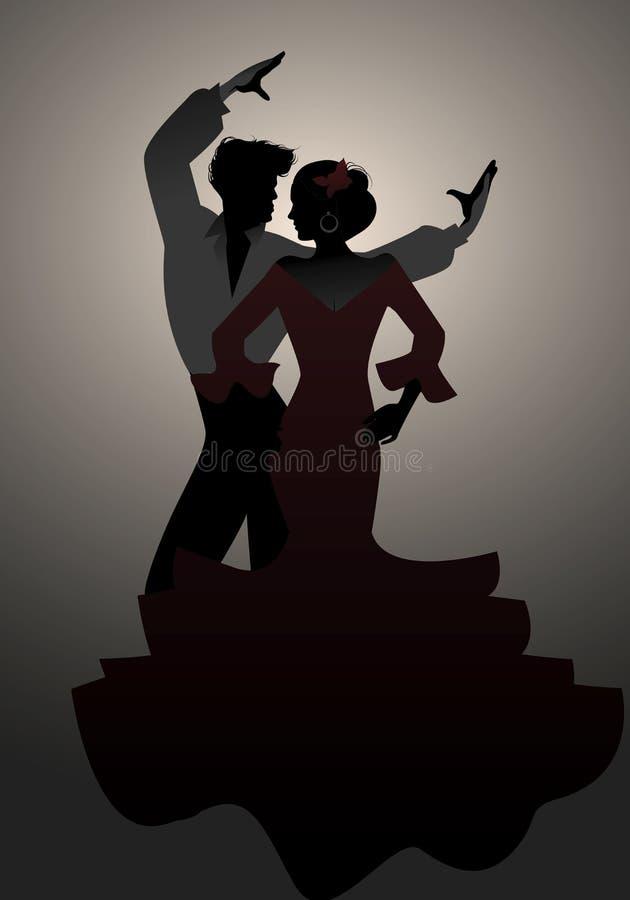Σκιαγραφίες των ισπανικών flamenco ζευγών χορευτών απεικόνιση αποθεμάτων