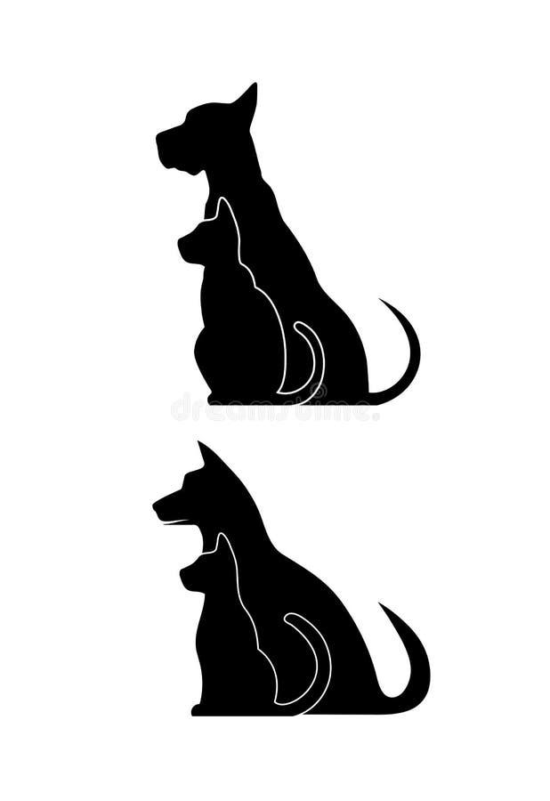 Σκιαγραφίες των κατοικίδιων ζώων, σκυλί γατών απεικόνιση αποθεμάτων