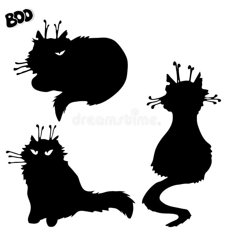 Σκιαγραφίες των μαύρων γατών μαγισσών Σχέδιο στοιχείων αποκριών ελεύθερη απεικόνιση δικαιώματος