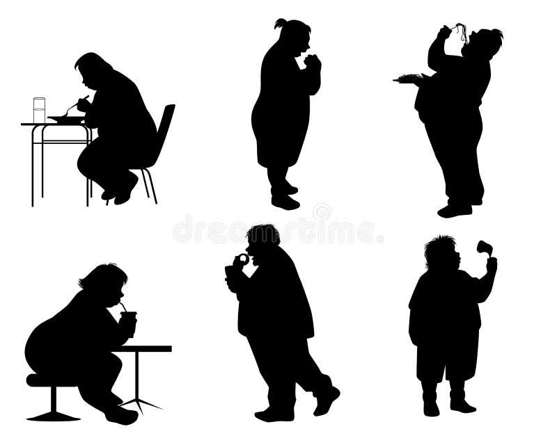 Σκιαγραφίες των πλήρων ανθρώπων ελεύθερη απεικόνιση δικαιώματος
