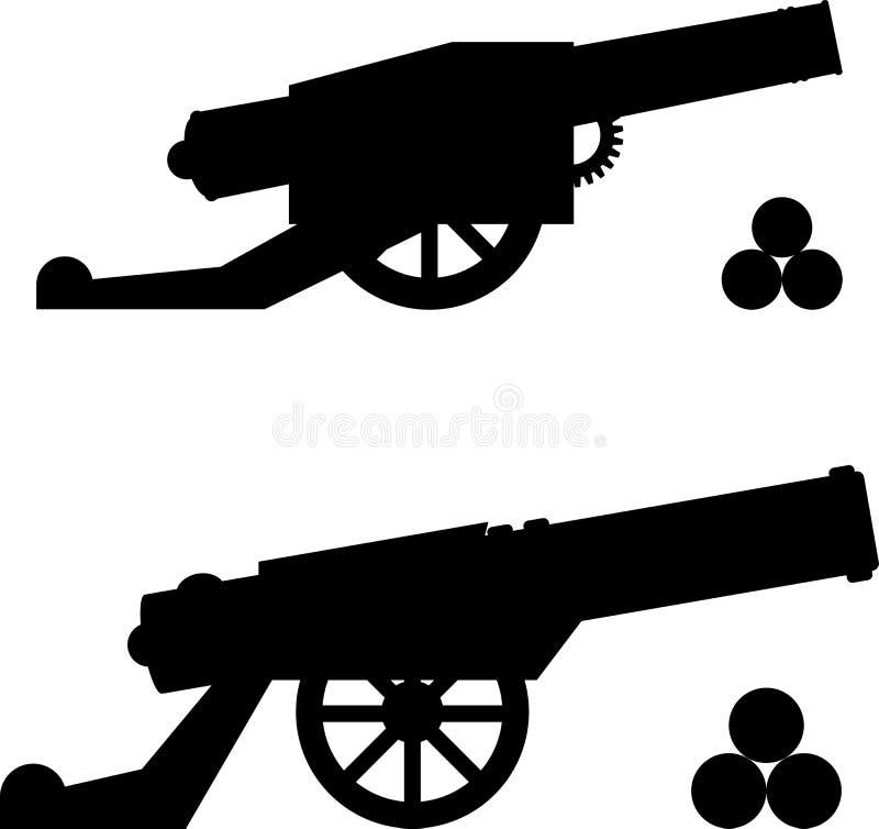 Σκιαγραφίες των πυροβόλων όπλων με τους πυρήνες ελεύθερη απεικόνιση δικαιώματος