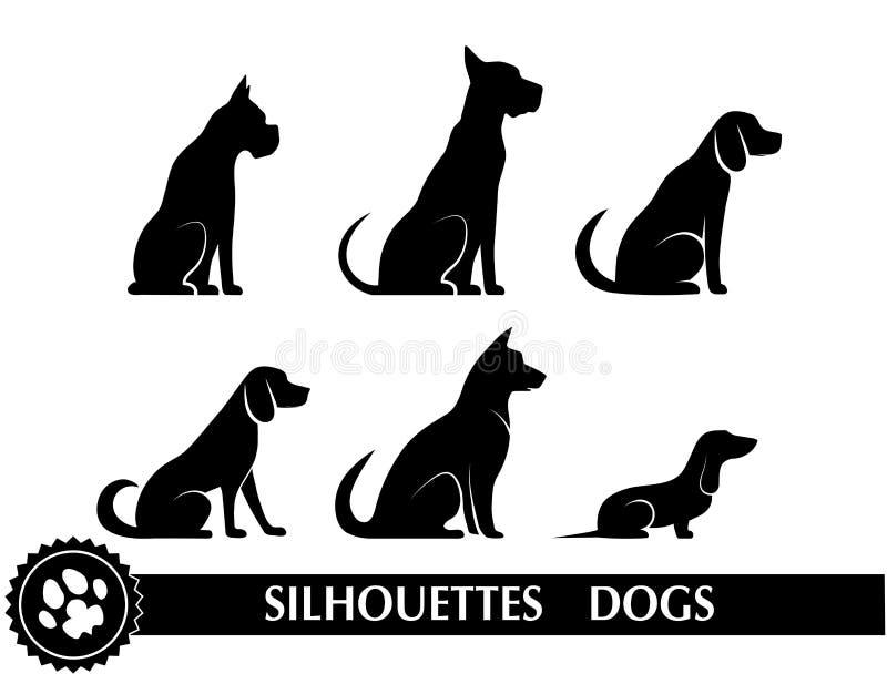 Σκιαγραφίες των σκυλιών διανυσματική απεικόνιση