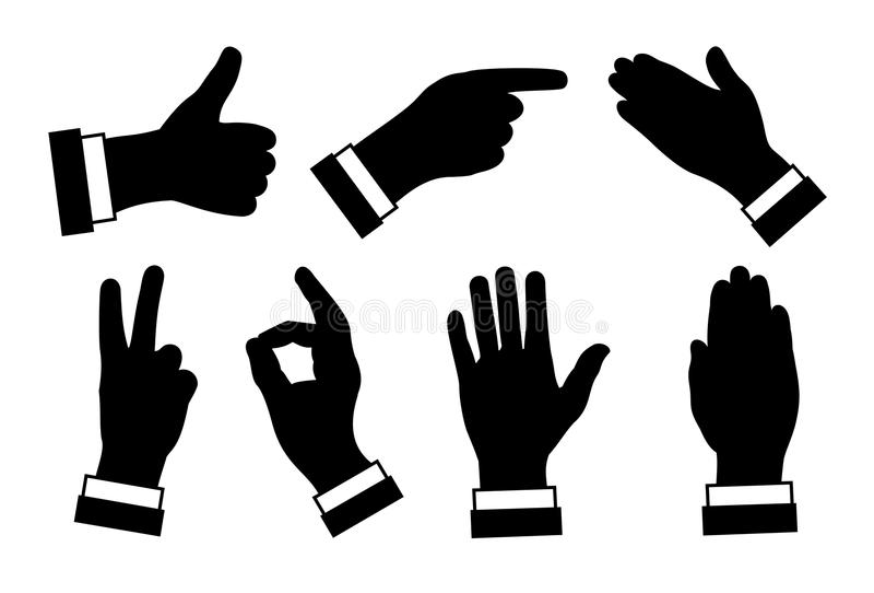 Σκιαγραφίες των χεριών, των διαφορετικών σημαδιών και των συμβόλων, μαύρη εικόνα ο διανυσματική απεικόνιση