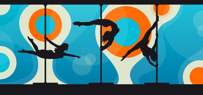Σκιαγραφίες των χορευτών πόλων στο αφηρημένο υπόβαθρο ελεύθερη απεικόνιση δικαιώματος