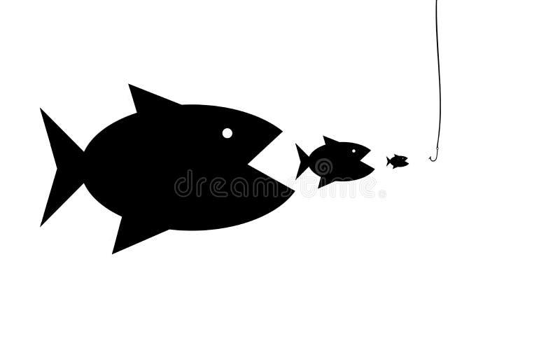 Σκιαγραφίες των ψαριών που καταβροχθίζουν το ένα το άλλο ελεύθερη απεικόνιση δικαιώματος