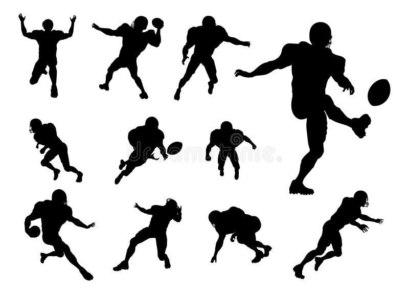 Σκιαγραφίες φορέων αμερικανικού ποδοσφαίρου ελεύθερη απεικόνιση δικαιώματος