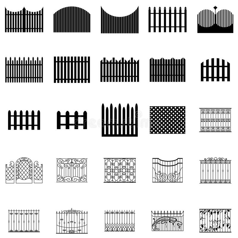 Σκιαγραφίες φρακτών καθορισμένες διανυσματική απεικόνιση
