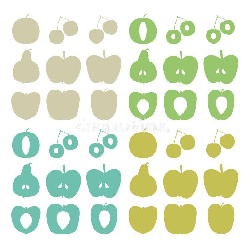 Σκιαγραφίες φρούτων δέντρων ελεύθερη απεικόνιση δικαιώματος