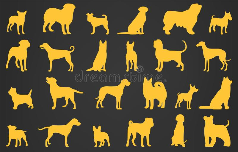 Σκιαγραφίες φυλών σκυλιών Συλλογή εικονιδίων σκυλιών Κινεζικό zodiac 2018 διάνυσμα διανυσματική απεικόνιση