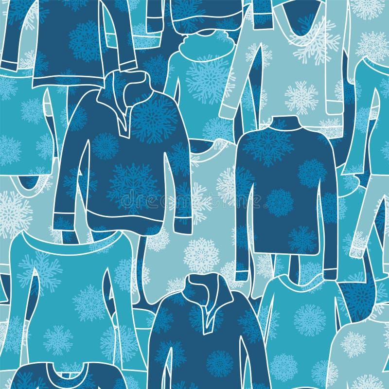 Σκιαγραφίες χειμερινών πουλόβερ με τη διαφανή snowflake επικάλυψη r EPS10 απεικόνιση αποθεμάτων