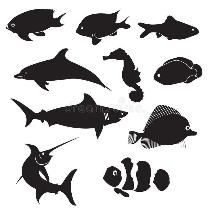 Σκιαγραφίες ψαριών ελεύθερη απεικόνιση δικαιώματος