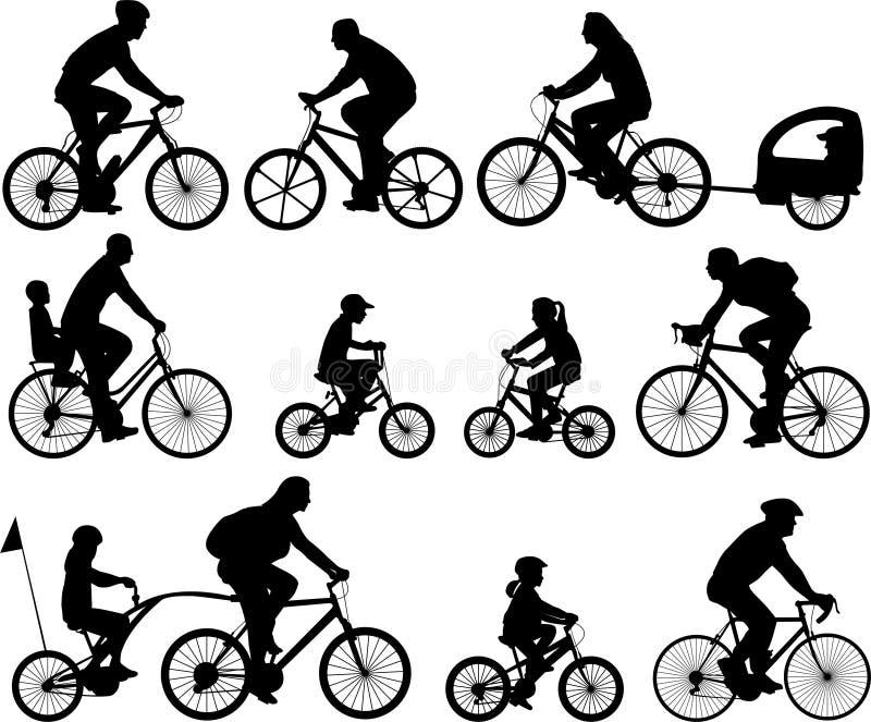 σκιαγραφίες bicyclists απεικόνιση αποθεμάτων