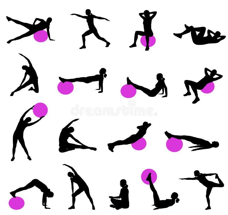 Σκιαγραφίες Pilates διανυσματική απεικόνιση