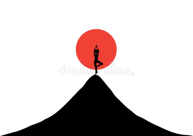 Σκιαγραφημένη γιόγκα πρακτικής γυναικών στο ηλιοβασίλεμα, απεικονίσεις ελεύθερη απεικόνιση δικαιώματος