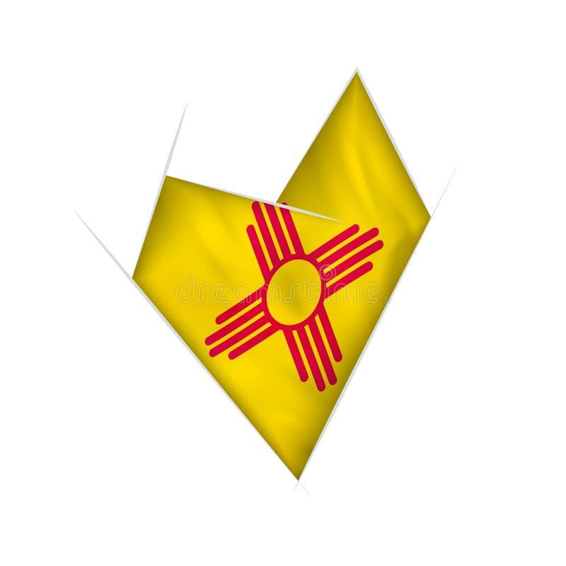 Σκιαγραφημένη στριμμένη καρδιά με τη σημαία Νέων Μεξικό απεικόνιση αποθεμάτων