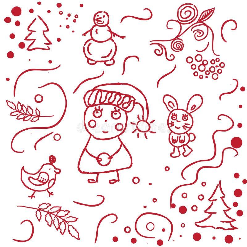Σκιαγραφημένος χέρι χειμώνας doodles διανυσματική απεικόνιση