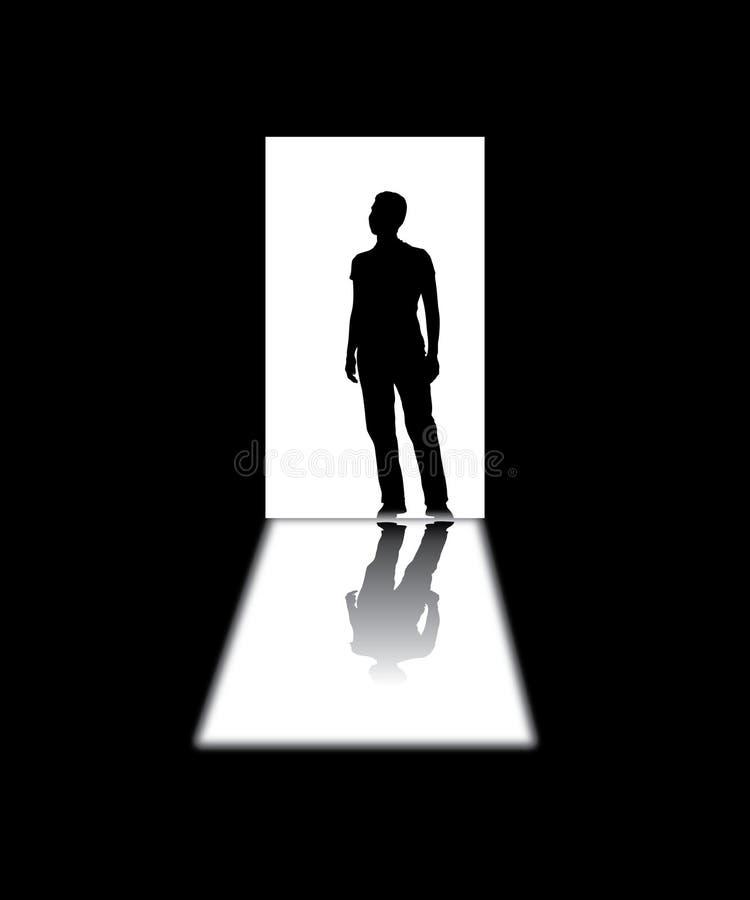 Σκιαγραφημένο άτομο σε μια πόρτα ελεύθερη απεικόνιση δικαιώματος