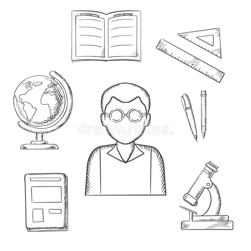 Σκιαγραφημένο εκπαίδευση σχέδιο με τα σχολικά στοιχεία διανυσματική απεικόνιση
