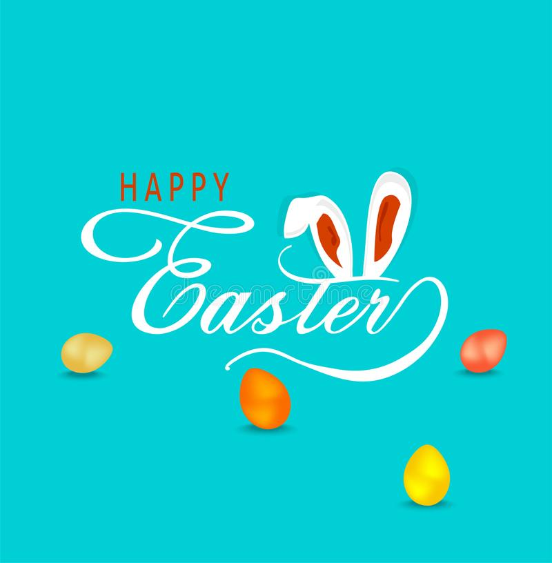 Σκιαγραφημένο χέρι ευτυχές κείμενο Πάσχας με τα αυτιά λαγουδάκι και τα χρωματισμένα αυγά ελεύθερη απεικόνιση δικαιώματος