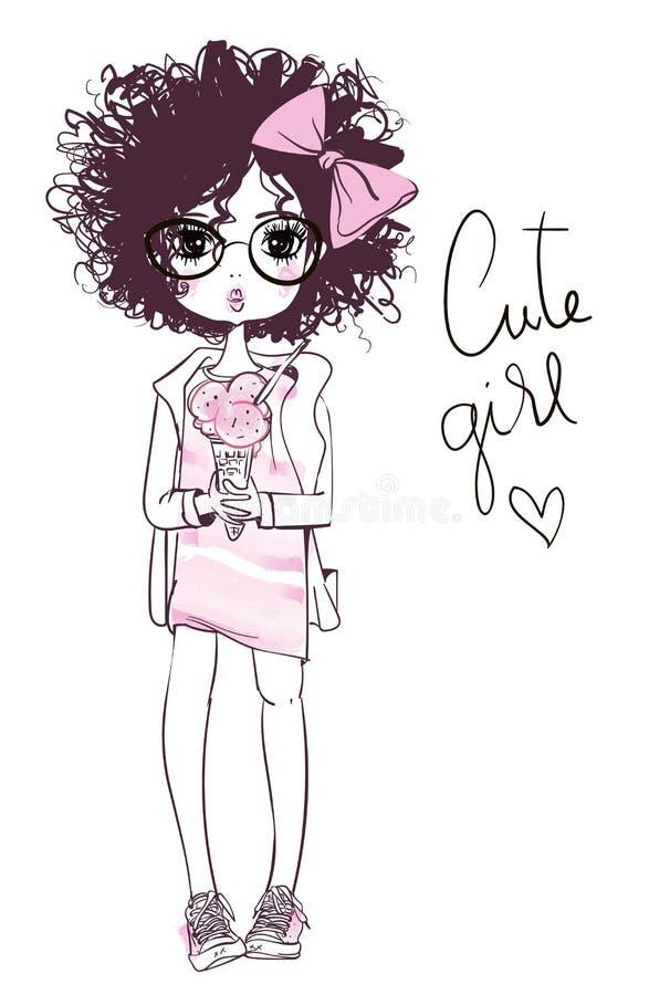 Σκιαγραφημένο χαριτωμένο θερινό κορίτσι με το παγωτό ελεύθερη απεικόνιση δικαιώματος