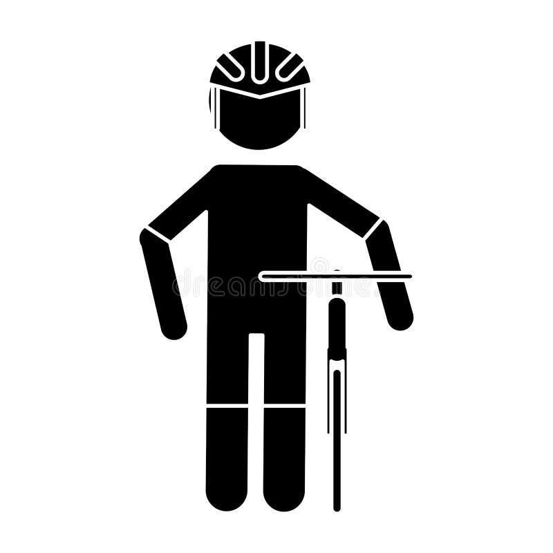 Σκιαγραφιών επαγγελματικό αγώνα ποδήλατο κρανών ποδηλατών ομοιόμορφο διανυσματική απεικόνιση