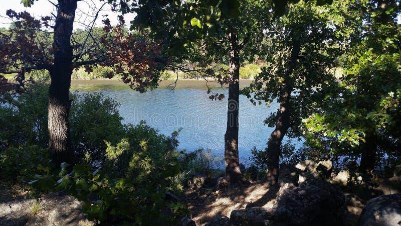 Σκιερή τράπεζα της λίμνης Quanah parker στοκ φωτογραφίες με δικαίωμα ελεύθερης χρήσης