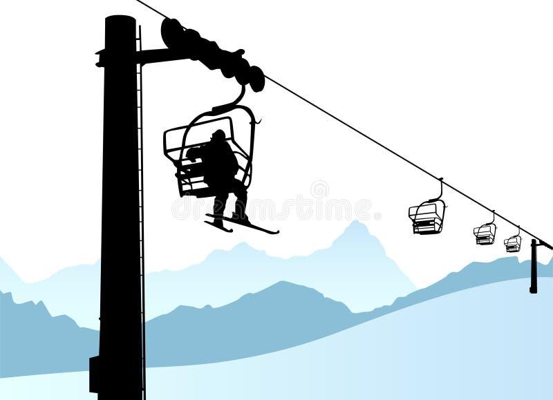 σκι ανελκυστήρων διανυσματική απεικόνιση