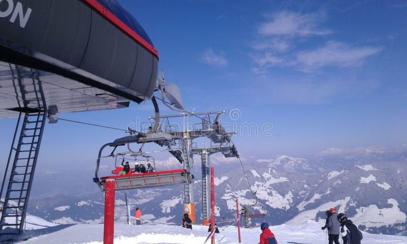 Σκι τοπίων χιονιού της Αυστρίας piste στοκ φωτογραφίες με δικαίωμα ελεύθερης χρήσης