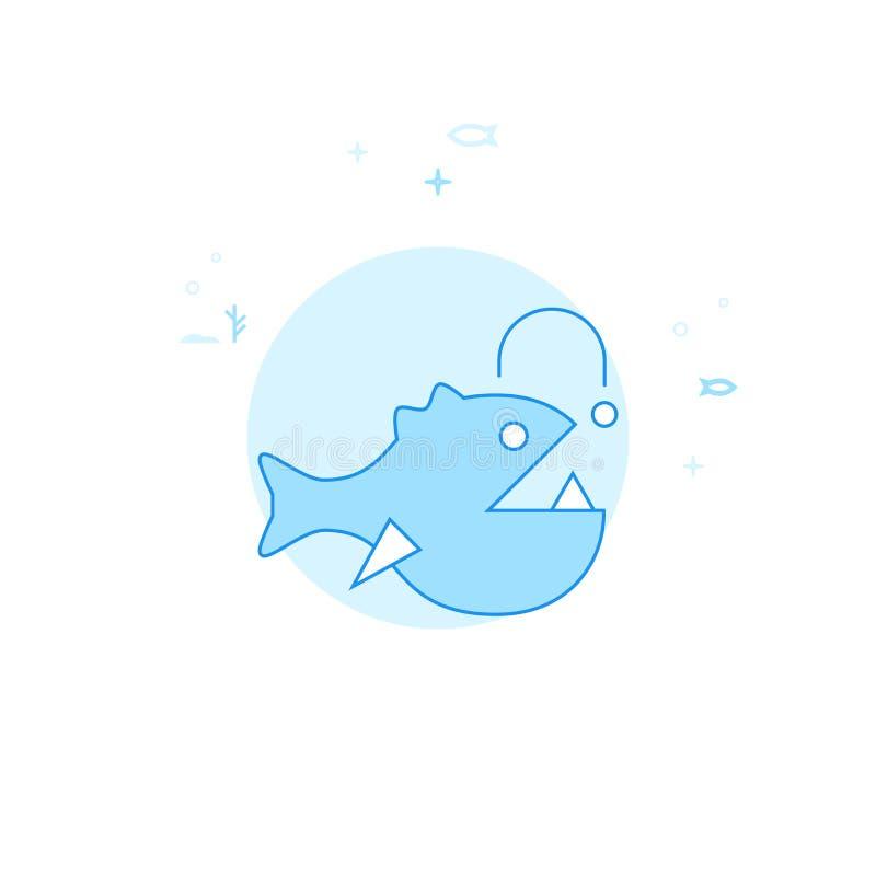 Σκλεμπόψαρο, επίπεδη διανυσματική απεικόνιση ψαριών μεγάλων θαλασσίων βαθών, εικονίδιο Ανοικτό μπλε μονοχρωματικό σχέδιο Κτύπημα  διανυσματική απεικόνιση