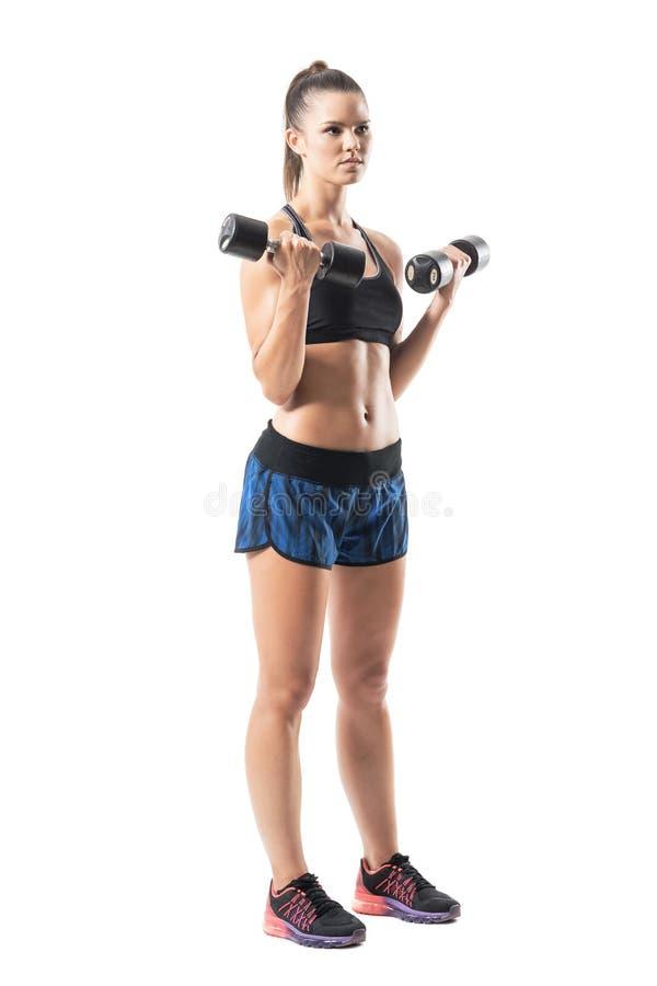Σκληρή μυϊκή κατάλληλη άσκηση δικέφαλων μυών γυναικών workout με τον αλτήρα που κοιτάζει μακριά στοκ φωτογραφία με δικαίωμα ελεύθερης χρήσης