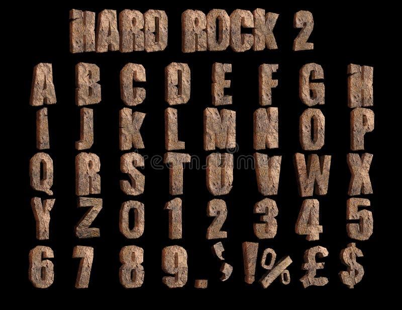 Σκληρή ροκ 2 ψαρευμένη τρισδιάστατη απεικόνιση αλφάβητου απεικόνιση αποθεμάτων