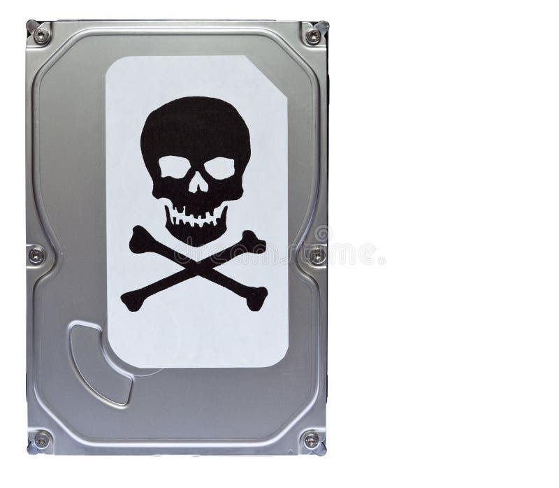 Σκληρός δίσκος με την ετικέτα της μόλυνσης ιών στοκ εικόνα με δικαίωμα ελεύθερης χρήσης