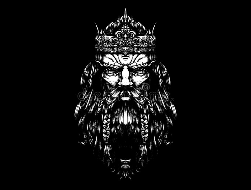 Σκληρός παλαιός βασιλιάς με ένα σκοτάδι κορωνών απεικόνιση αποθεμάτων