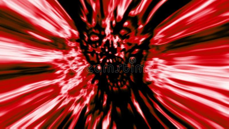 Σκληρό κεφάλι zombie στο κόκκινο υπόβαθρο απεικόνιση αποθεμάτων