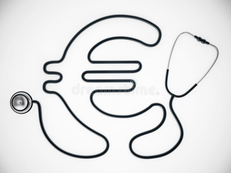 Σκοινί στηθοσκοπίων που διαμορφώνει τη μορφή του ευρο- συμβόλου r ελεύθερη απεικόνιση δικαιώματος