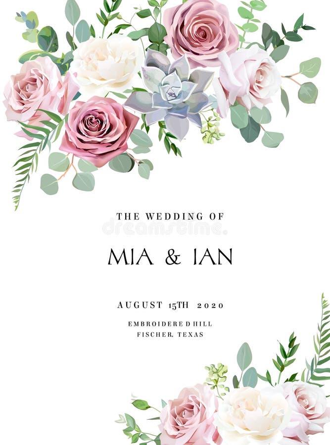 Σκονισμένος ρόδινος, κρεμ παλαιός αυξήθηκε, χλωμό γαμήλιο πλαίσιο σχεδίου λουλουδιών διανυσματικό απεικόνιση αποθεμάτων