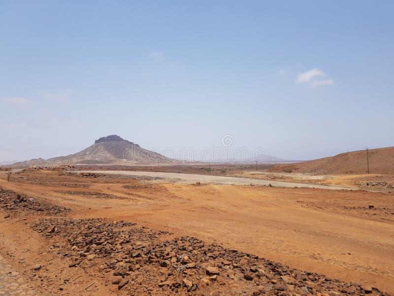 Σκονισμένο τοπίο Boa Vista, Πράσινο Ακρωτήριο στοκ φωτογραφίες