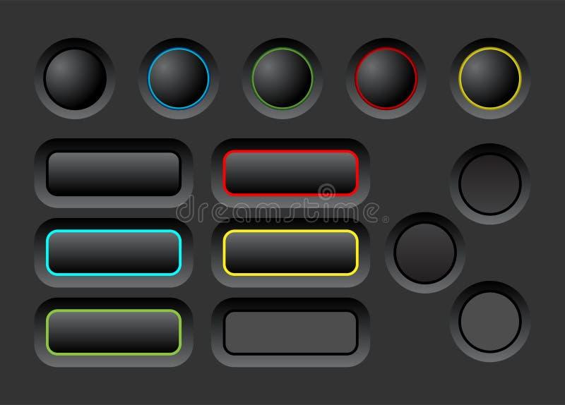 Σκοτεινά κουμπιά ui καθορισμένα ελεύθερη απεικόνιση δικαιώματος