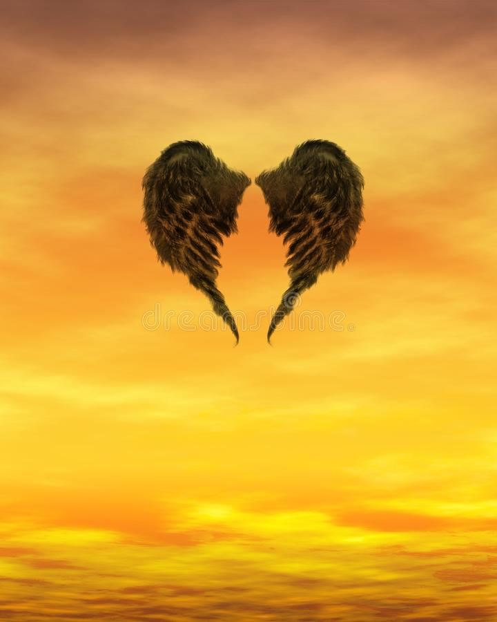 σκοτεινά φλογερά φτερά η&lamb ελεύθερη απεικόνιση δικαιώματος