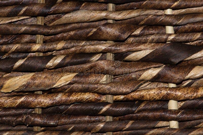 Σκοτεινές καφετιές πλευρές ενός ψάθινου καλαθιού στοκ εικόνες