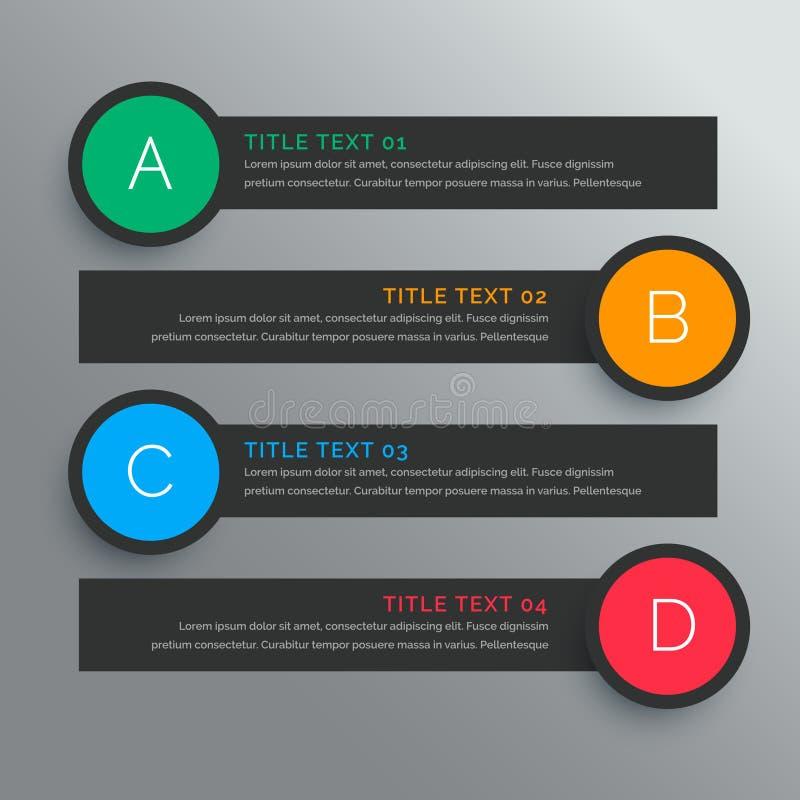 Σκοτεινές κυκλικές επιλογές infograph με πέντε βήματα απεικόνιση αποθεμάτων
