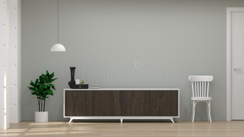 Σκοτεινές ξύλινες γραφείο και καρέκλες χρώματος TV στα τρισδιάστατα έπιπλα απεικόνισης δωματίων, τα σύγχρονα εγχώρια σχέδια, τα ρ ελεύθερη απεικόνιση δικαιώματος