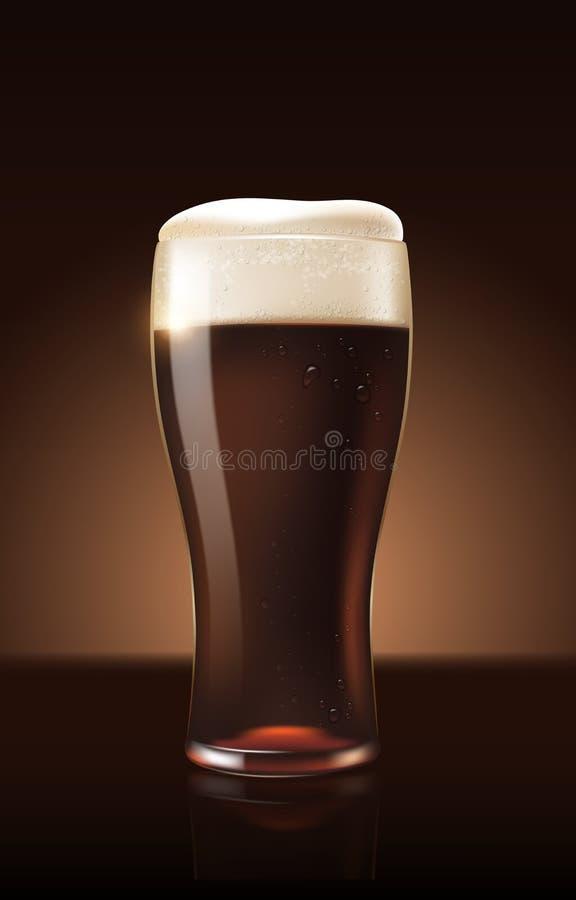 Σκοτεινή μπύρα αχθοφόρων στο αναζωογονώντας ποτό φλυτζανιών γυαλιού με τον άσπρο αφρό στην τρισδιάστατη απεικόνιση, καταβρέχοντας ελεύθερη απεικόνιση δικαιώματος