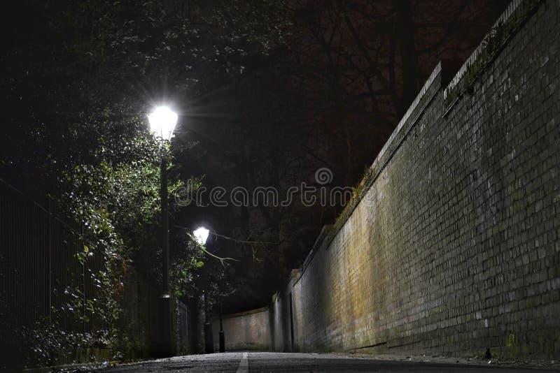 Σκοτεινή νύχτα αλεών στοκ εικόνες με δικαίωμα ελεύθερης χρήσης